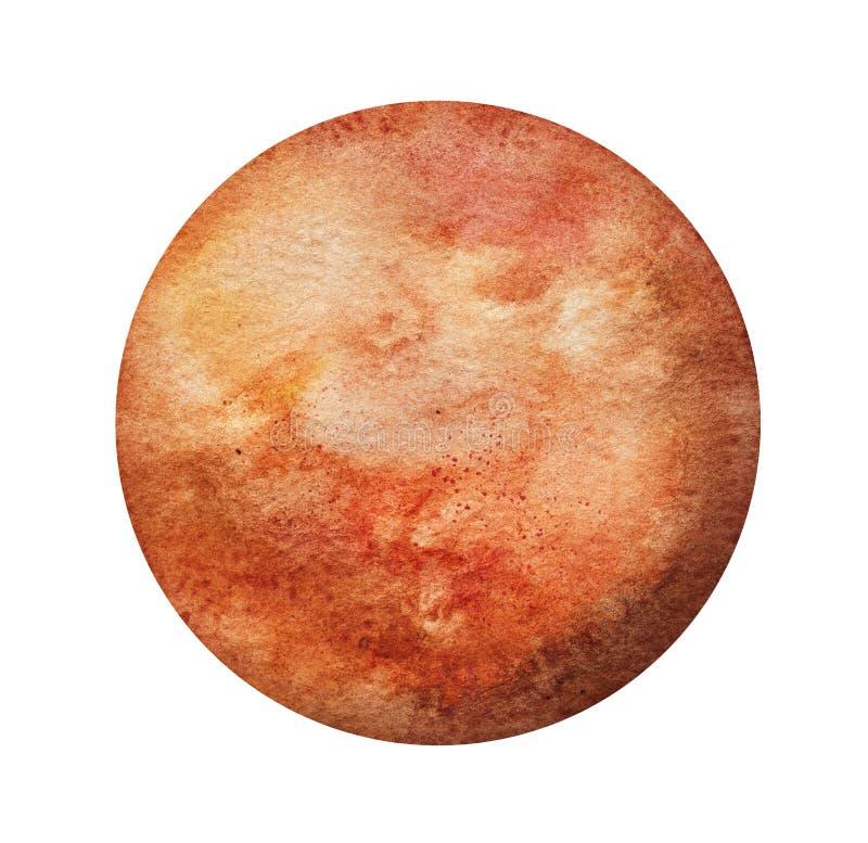 Краска акварели планеты Марса иллюстрация вектора