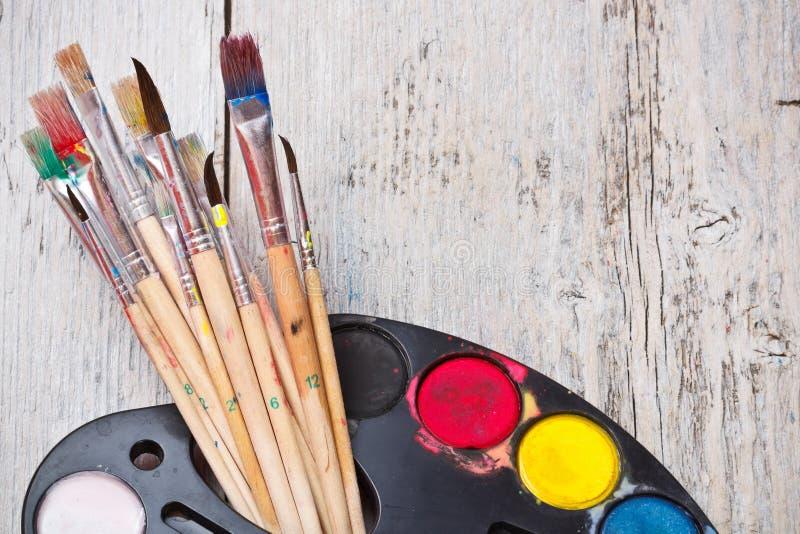 Краска акварели с щеткой стоковая фотография rf