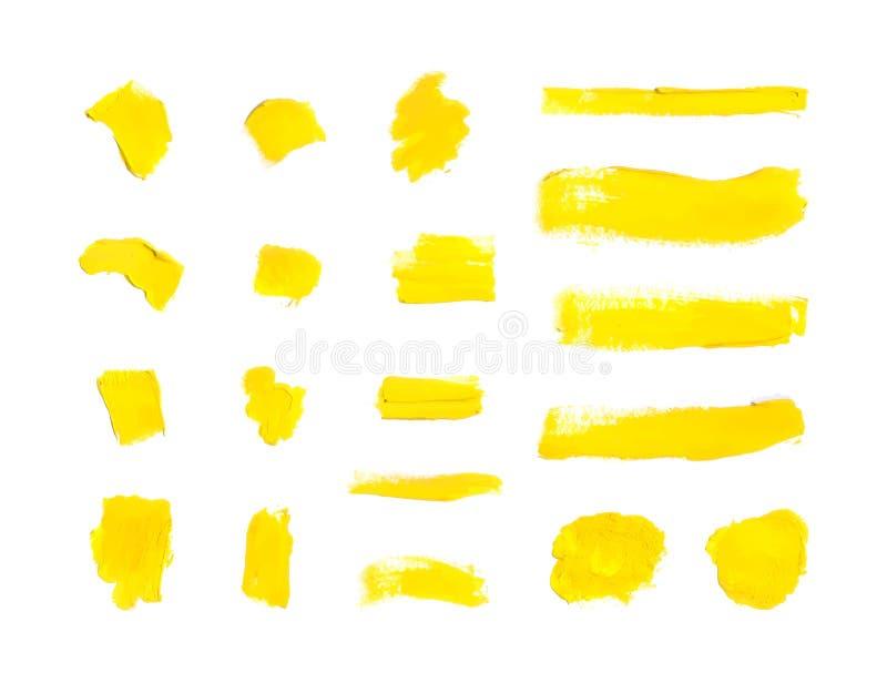 Краска вектора желтая штрихует предпосылку, установленные мазки пробела иллюстрация штока