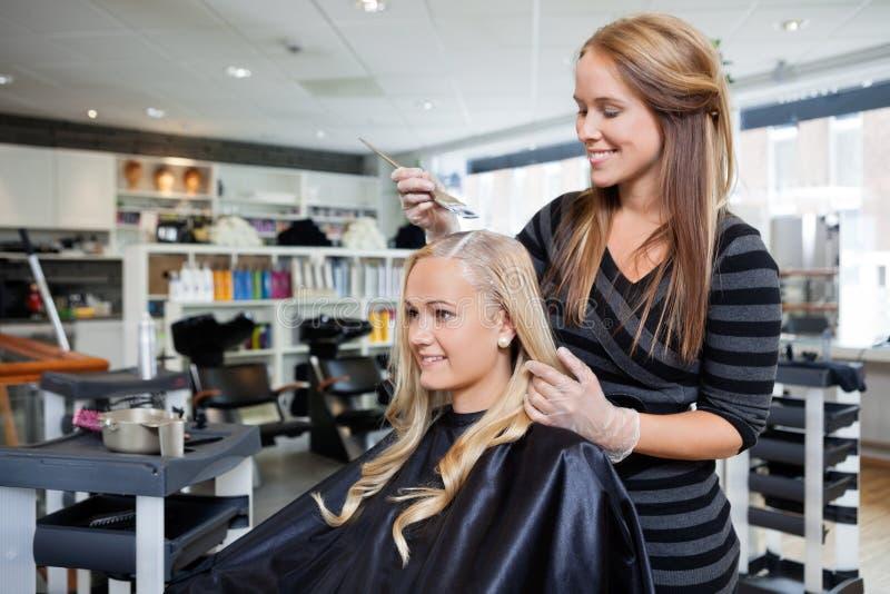 Краска волос на салоне красоты стоковая фотография rf
