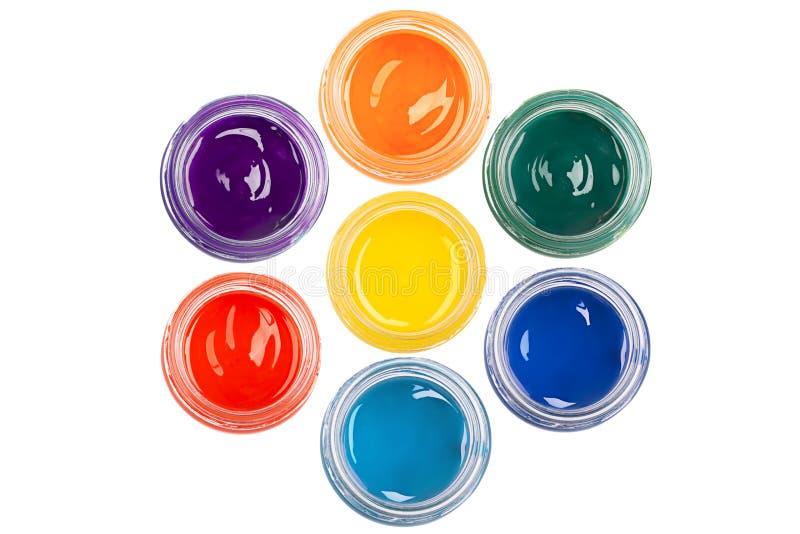 Краска в стеклянных опарниках стоковое изображение