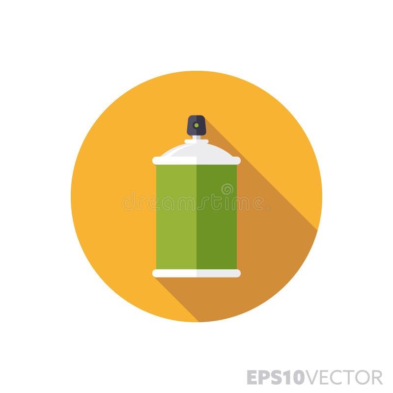 Краска для пульверизатора может плоско конструировать длинный значок вектора цвета тени бесплатная иллюстрация