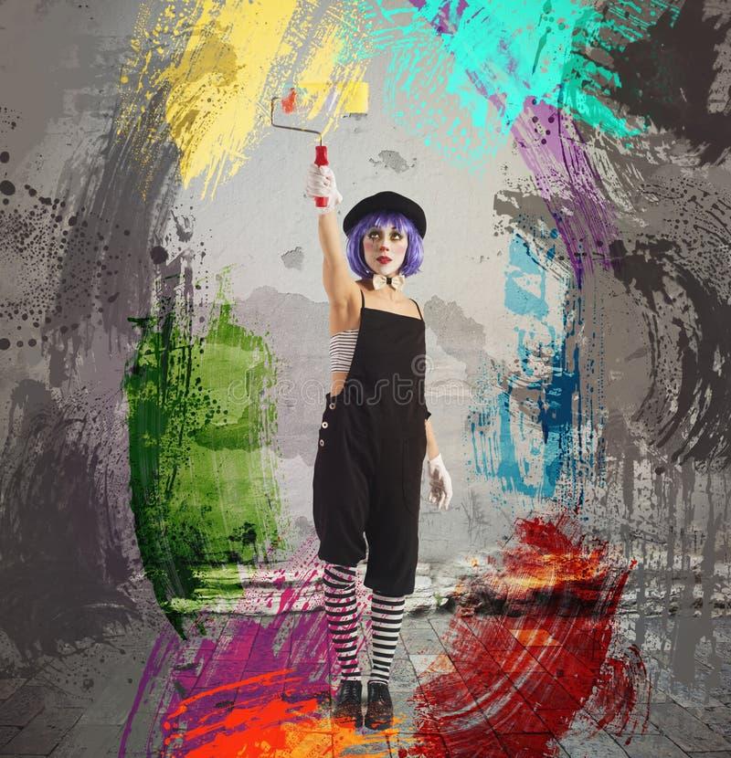 Краска клоуна художника стоковая фотография rf