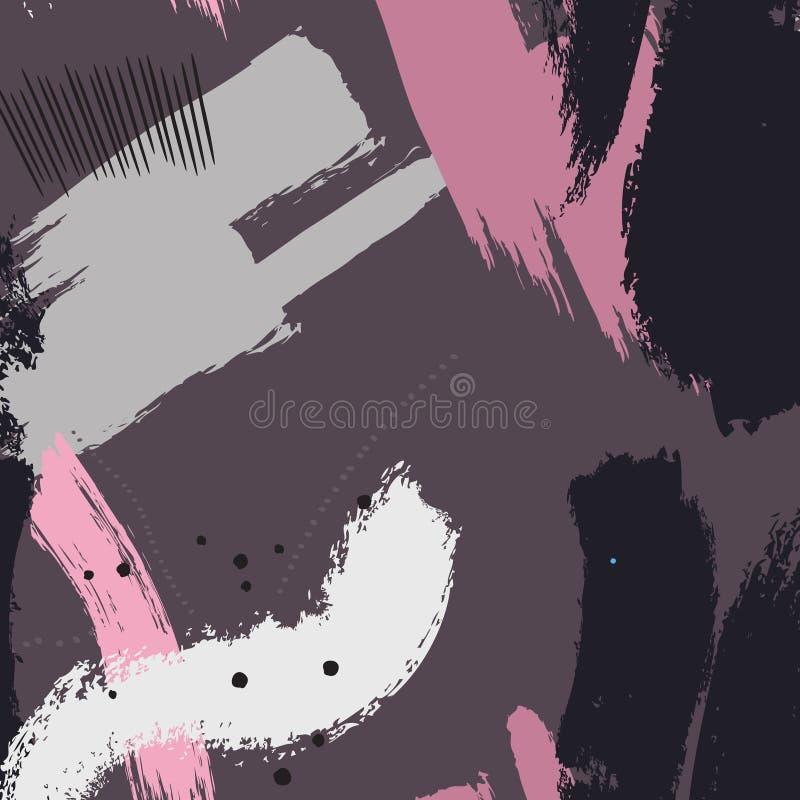 Краска рекламы вектора Freehand акриловые ходы grunge в фиолетовых розовых серых цветах Творческие формы чернила брызгают бесплатная иллюстрация