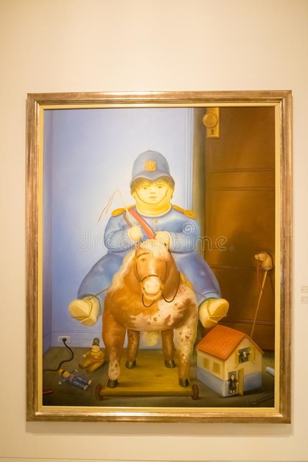 Краска Botero вызвала Педро Medellin Колумбию стоковые фотографии rf