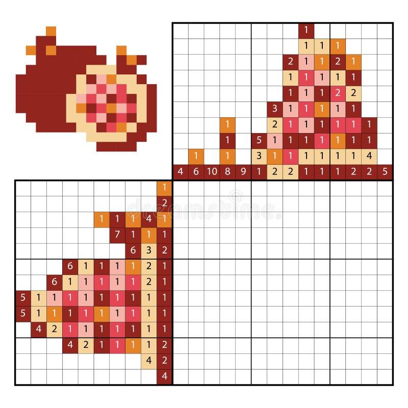 Краска nonogram головоломки номера, гранатовым деревом бесплатная иллюстрация