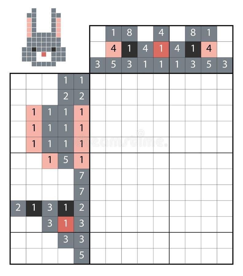 Краска nonogram головоломки номера, кроликом бесплатная иллюстрация