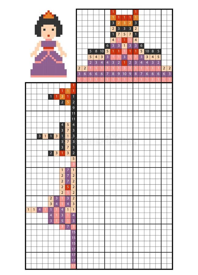 Краска nonogram головоломки номера, принцессой иллюстрация штока