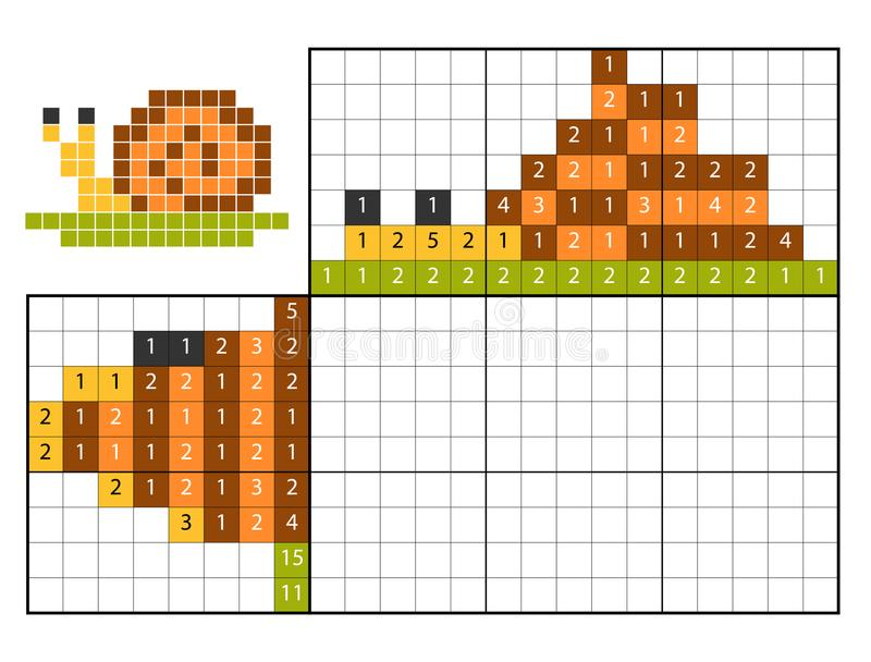 Краска nonogram головоломки номера, улиткой иллюстрация штока