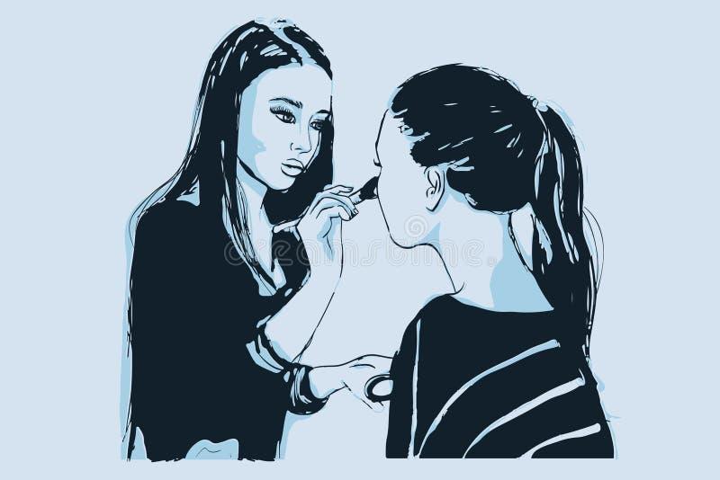 Краски визажиста visagist женщины на стороне его клиента бесплатная иллюстрация