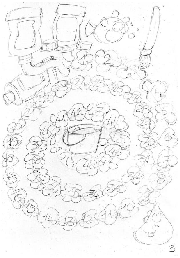 Краски темперы в трубках с темперой пятнают пронумерованный путь к игре, эскизам и эскизам и doodles карандаша иллюстрация штока