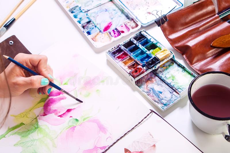 Краски художника конца-вверх стоковое фото rf
