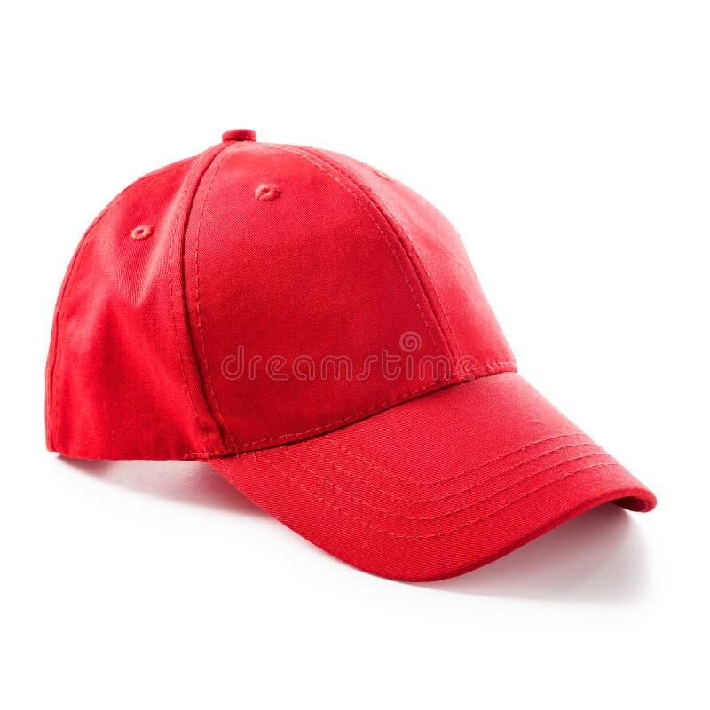 Красная бейсбольная кепка стоковое изображение rf
