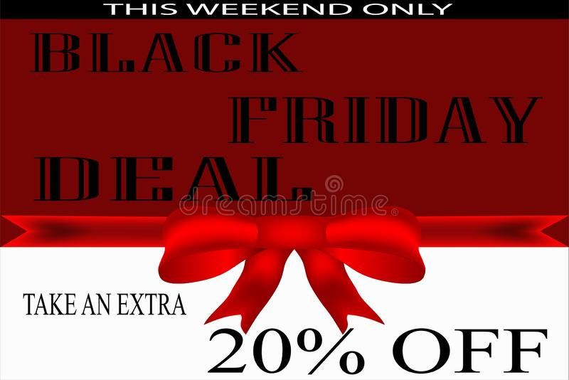 Красная & белая черная рогулька пятницы, плакат иллюстрация штока