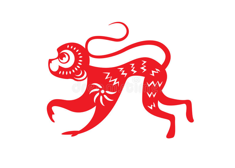 Красная бумага отрезала символы зодиака обезьяны бесплатная иллюстрация