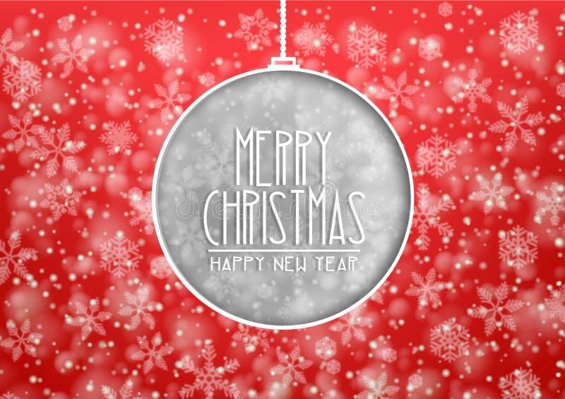 Красная веселая рождественская открытка с приветствиями и картиной il рождества бесплатная иллюстрация