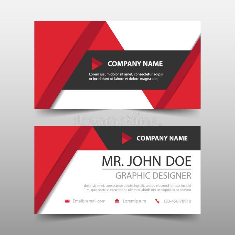 Красная визитная карточка корпоративного бизнеса треугольника, шаблон карточки имени, горизонтальный простой чистый шаблон дизайн иллюстрация штока