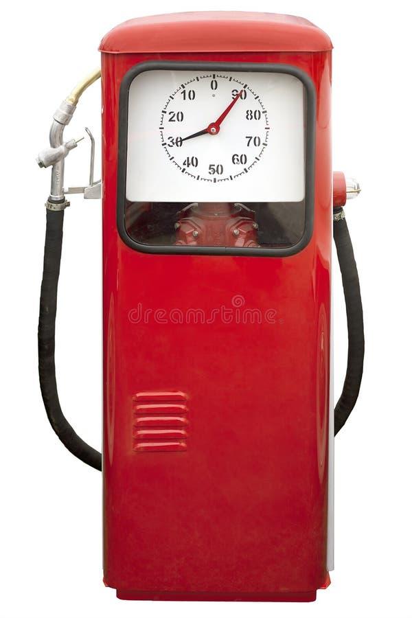 Красная винтажная бензиновая колонка стоковое изображение rf