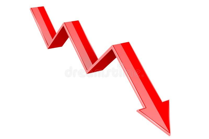 Красная вниз стрелка 3d Финансовохозяйственная диаграмма иллюстрация вектора