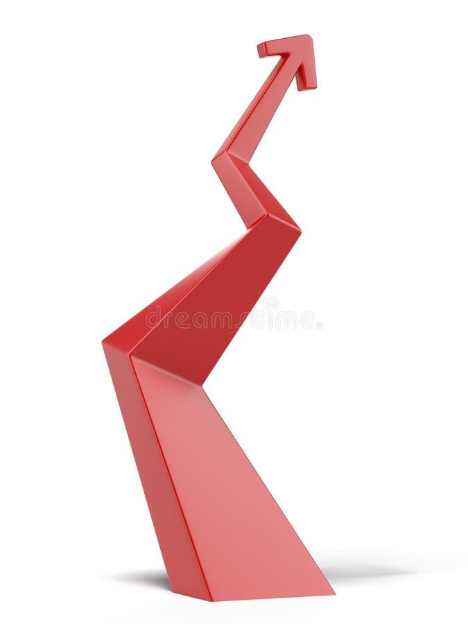 Красная восходящая стрелка иллюстрация штока