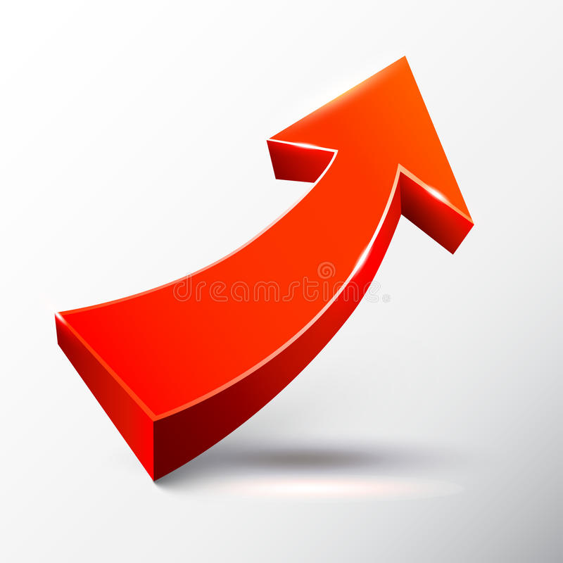 Красная восходящая стрелка иллюстрация вектора