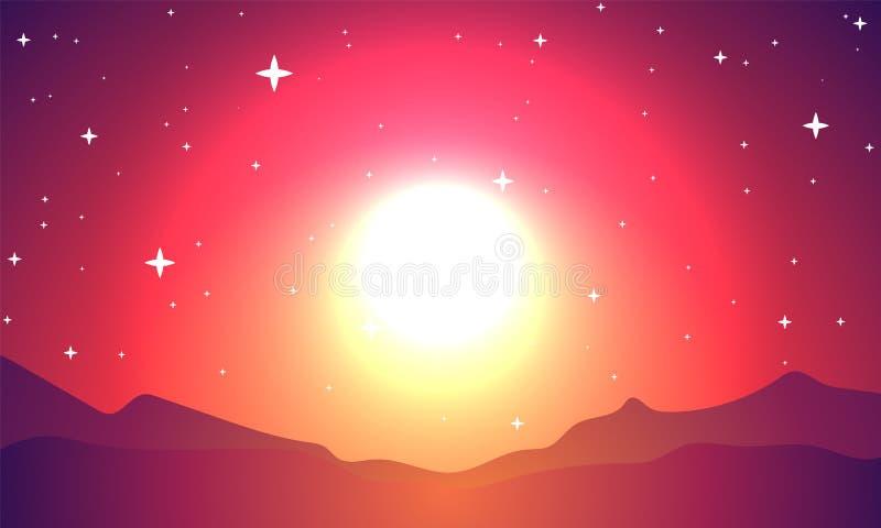 Красная вспышка планеты в звездном небе иллюстрация вектора