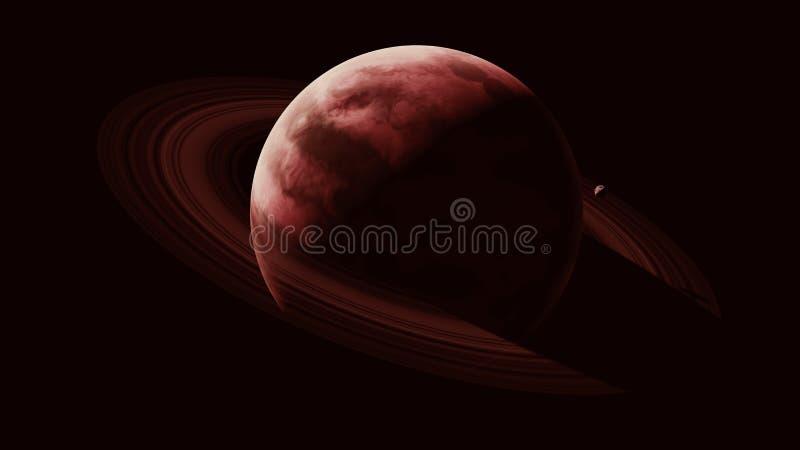 Красная гигантская планета газа с большими кольцами и небольшим спутником двигая по орбите иллюстрация вектора