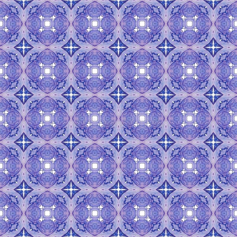 Красная голубая геометрическая безшовная картина Wa руки вычерченное иллюстрация штока