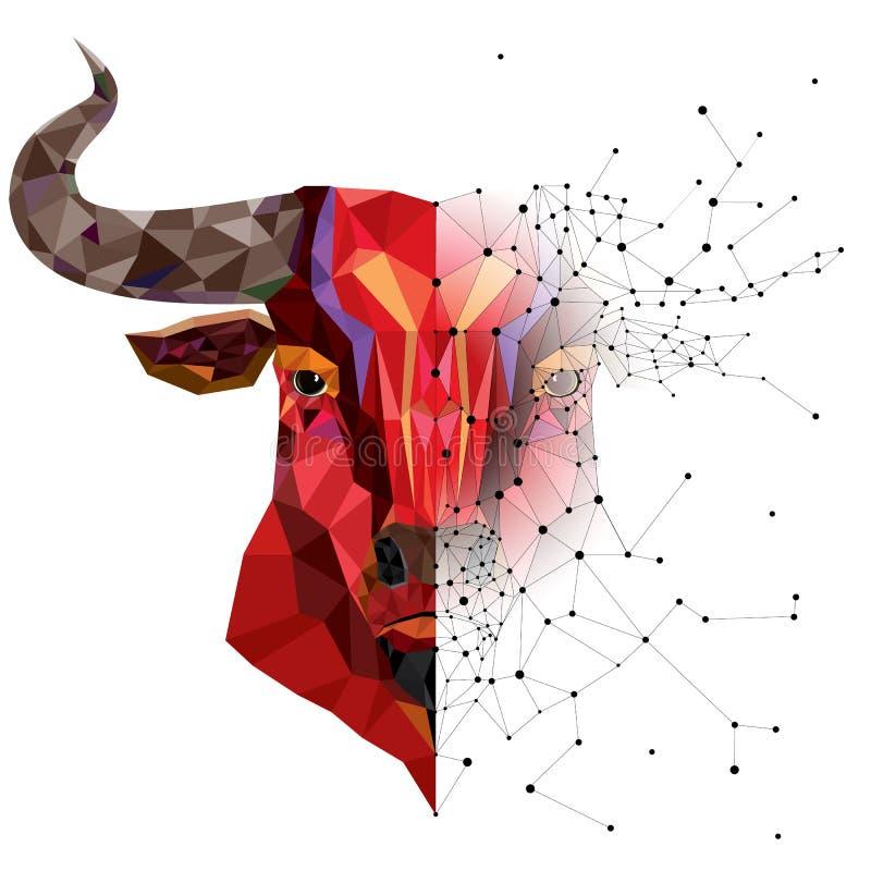 Красная голова быка с геометрической иллюстрацией вектора картины