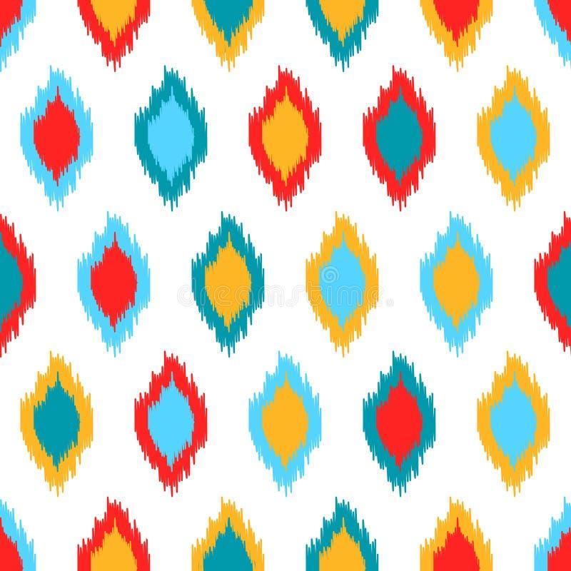 Красная голубая картина желтой и белой красочной ткани ikat азиатской традиционной безшовная, вектор иллюстрация вектора