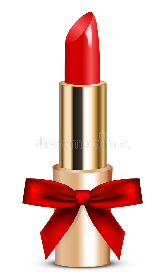 Красная губная помада с смычком иллюстрация вектора
