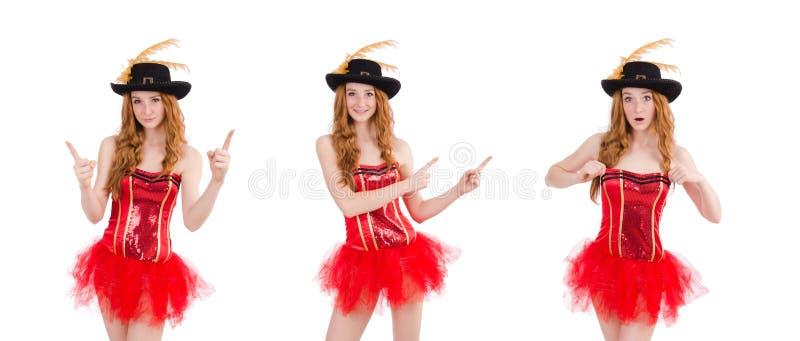 Красная девушка волос в костюме масленицы изолированном на белизне стоковые изображения rf