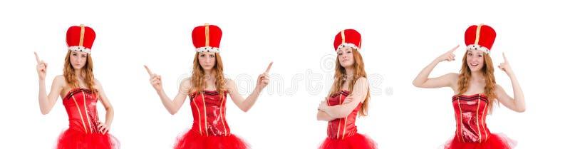 Красная девушка волос в костюме масленицы изолированном на белизне стоковое фото