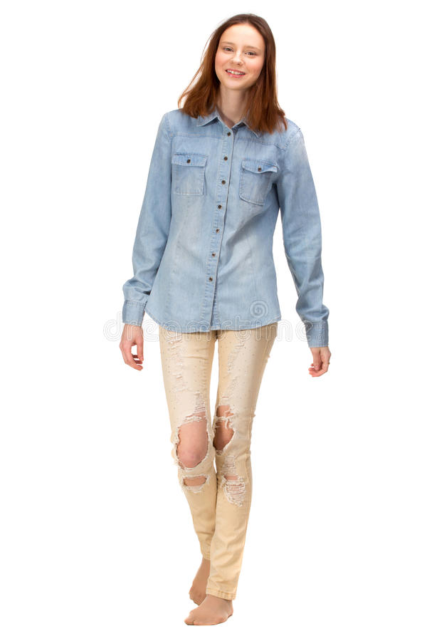 Красная девушка в джинсах стоковые изображения rf