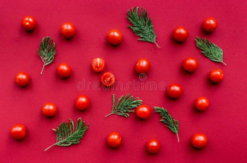 Красная еда установила с томатами для картины взгляд сверху меню ресторана стоковые фотографии rf
