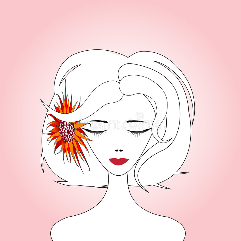 красная женщина солнцецвета стоковые изображения