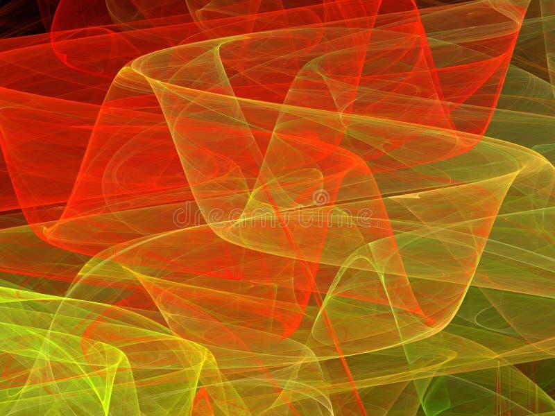 Красная желтая абстрактная фракталь изгибает с прозрачными волнами стоковые фото