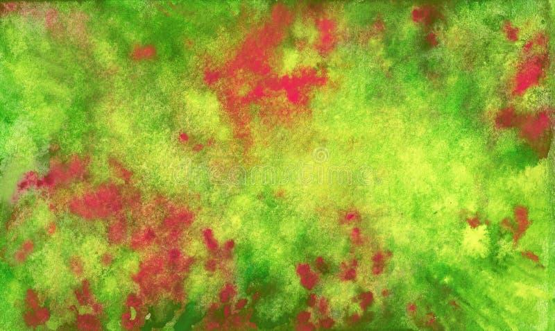 Красная зеленая желтая предпосылка мадженты Брызгает и смешивает внутри акварель иллюстрация штока