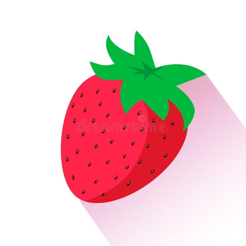 красная зрелая клубника Изолированная иллюстрация вектора иллюстрация штока