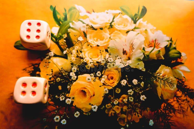 Красная игра dices на предпосылке цветка абстрактная иллюстрация игры принципиальной схемы 3d стоковое фото rf