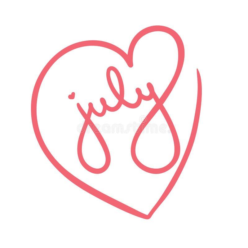 Красная иллюстрация рамки любов сердца на День независимости 4-ое июля счастливый в Америке Рука праздника помечая буквами америк иллюстрация вектора