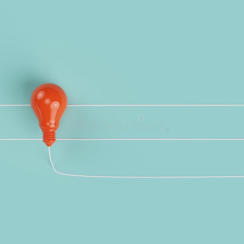 Красная линия лампочки на пастельной предпосылке blub стоковые фото