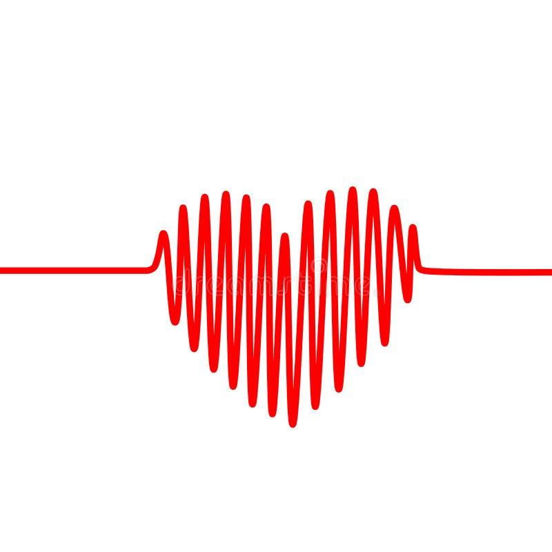 Красная линия биения сердца в форме сердца на белой предпосылке Диаграмма вектора ECG, или EKG иллюстрация штока