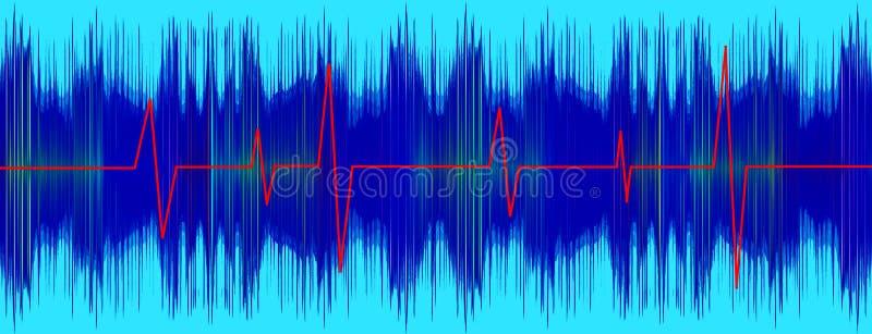 Красная линия Heratbeet на экране электрокардиограммы бирюзы бесплатная иллюстрация