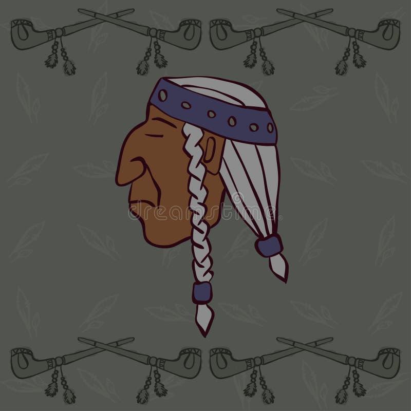 Красная индийская голова с мир-трубами стоковые изображения rf