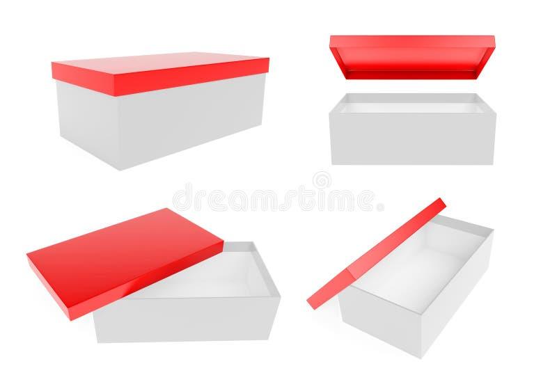 Красная и белая коробка ботинка r иллюстрация штока