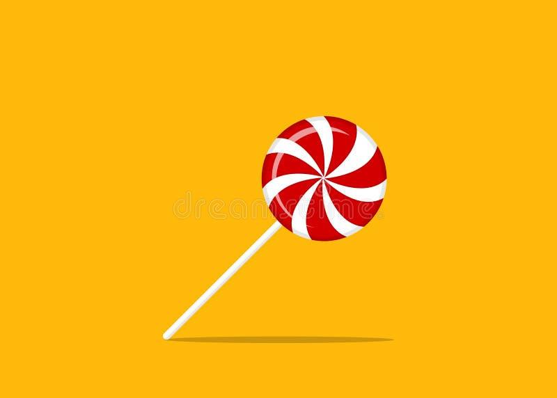 Красная и белая круглая спиральная конфета Леденец на палочке клубники или вишни иллюстрация вектора