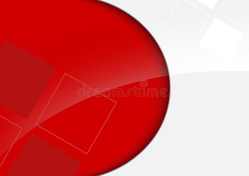 Красная и белая лоснистая предпосылка с декоративными квадратами иллюстрация штока