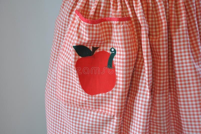 Красная и белая рисберма холстинки с Applique Яблока и червя стоковое фото rf