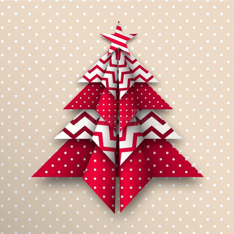 Красная и белая рождественская елка origami, тема праздника, иллюстрация иллюстрация вектора